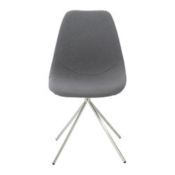 Euro Style - Dax Side Chair (Set of 4) - Gray Fabric/Brushed Stainless Steel - The seat and back are fabric on foam and quite comforting.  It's the base of the DAX chair that sets it apart. The four brushed stainless legs come together and form a one legged 'pedestal' that supports the chair.  It's a subtle design distinction that truly distinguishes DAX from the rest.