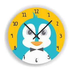 """Nursery Code - Nursery Wall Clock - PENGUIN Illustration - Kids Room Clock, Orange, 11"""" Diamete - Nursery Wall Clock, Penguin- Boys room decor."""