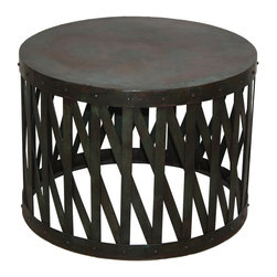"Habitat Home & Garden - Pangea Coffee Table - The Pangea Coffee Table offers a big impact with a small footprint. At 25"" inches in diameter, this round, iron piece will fit into any space, small or large. Featuring a rustic green finish, this will bring a subtle pop of color into your living room."