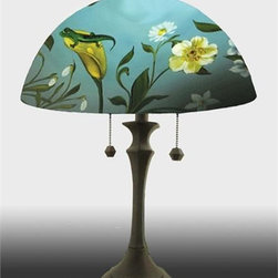 Barthell, Jamie - Lizard in the Garden Reverse Hand Painted Glass Table Lamp - This beautiful hand painted glass table lamp, shown here in the Lizard in the Garden design, will make a stunning addition to any room. Each piece is an original work of art that is signed and numbered, and includes a certificate of authenticity
