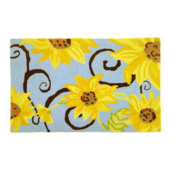 Homefires - Sunflower Swirl Rug - Add a bright spot of sun-filled color to your space with this playful rug. It has the look and feel of wool, but without the high price tag.