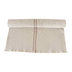 French Grainsack Table Runner - Grainsack table runner with dark beige stripes running down the middle. The color of the grainsack is oakmeal and the edges and ends are frayed.