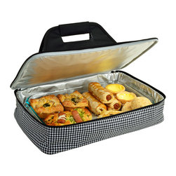 """Picnic at Ascot - Insulated Casserole Carrier, Houndstooth - Food carrier with sturdy construction and Themal Shield insulation to keep food hot or cold during transport. Great to carry casseroles, cakes, rolls, etc. Fits up to al 11"""" x 15"""" (5 Qt) size casserold dish (not included). Features a sturdy centered handle to avoid tipping and zips fully open for easy packing."""