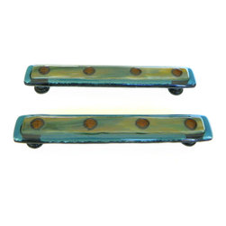 "Custom Kitchen Hardware - 6"" with 5"" Screw Placement - Custom 6"" drawer pulls or cabinet handles in slate blue, green wisps, and bronze. Custom screw placement at"