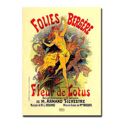 Trademark Global - Folies Bergere Fleur de Lotus by Jules Cheret - Classic French-style advertisement will infuse your room with energy & character! Vintage giclee canvas print depicts Foiles Bergere Fleur de Lotus by Jules Cheret, complete with colorful dancers and promotional text. An ideal addition anywhere in your home. Gallery wrapped Giclee on canvas art. Ready to hang. Traditional style. Subject: Vintage. Format: Vertical. Size: Large. Canvas material. 24 in. W x 32 in. H (5.25 lbs.)Giclee is an advanced printmaking process for creating high quality fine art reproductions. The attainable excellence that Giclee printmaking affords makes the reproduction virtually indistinguishable from the original artwork. The result is wide acceptance of Giclees by galleries, museums and private collectors.