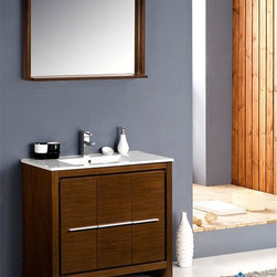 "Fresca - Fresca Allier 36"" Modern Bathroom Vanity - Wenge - At a width of 36"" and depth of 18.5"" and a height of 33.5"", the Fresca Allier bathroom vanity is one of the most compact free standing vanities available on the site. Accented with a 35.5"" wide x 25.5"" high mirror that includes a 6"" deep shelf, this bathroom vanity can add both convenience and style to any modernly designed restroom. The optional side cabinet, sold separately, can further enhance your storage options.The Fresca Allier bathroom vanity comes complete with a matching ceramic countertop sink, p-trap and pop-up drain, along with the main cabinet, mirror, and standard hardware needed for installation. This bathroom vanity also comes with your choice of faucet for optimal personalization.DecorPlanet is proud to offer Fresca Bathroom products. Fresca is a leading manufacturer of high-quality vanities, accessories, toilets, faucets, and everything else to give you the freshest bathroom in the neighborhood. Fresca is known for carrying the latest and most popular styles in modern and contemporary bathroom design that are made with high quality materials and superior workmanship."
