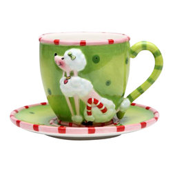 "ATD - Multicolored Holiday Themed ""Ruby the Poodle"" Cup and Saucer Set - This gorgeous Multicolored Holiday Themed ""Ruby the Poodle"" Cup and Saucer Set has the finest details and highest quality you will find anywhere! Multicolored Holiday Themed ""Ruby the Poodle"" Cup and Saucer Set is truly remarkable."