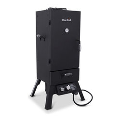 Char-Broil 12701705 Propane 16500 BTU 578 Square Inch Vertical Smoker - Broil Vertical Gas Smoker & BBQ Oven offers fast lighting and maximum temperature control.Features:- 16,500 BTU burner with variable temperature control - Quality steel construction - Three adjustable, oven-style, chrome-plated grates provide 578 sq. inch total cooking surface area and 6,612 cu. inch of cooking capacity overall - Convenient firebox drawer minimizes heat loss while tending wood chips and porcelain-coated water pan - Adjustable damper with warming grate on top of unit keeps your sauces warm and provides greater temperature control - Spring-style cool-touch handles - Rotary ignition - Temperature gauge1728a