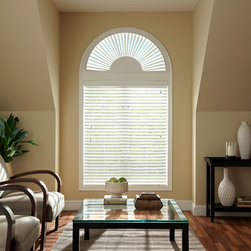"Bali Faux Wood Arch Blinds - The Bali Faux Wood arch is another solution for those arched windows. All arches are pre-built to fit most sizes of arch openings. Starting at 22"" wide up to 72"" in width. Each arch is designed to fit a perfect arched opening. The 2 1/2"" side lip is designed to cover any light gap and gives some allowances for a wider range of widths and/or slightly imperfect openings. Louvers operate independently for maximum light control. Available in 3 popular white colors."