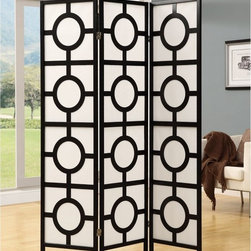 Monarch Specialties - Black 3 Panel Circle Design Folding Screen - I 4619 - Shop for Room Dividers from Hayneedle.com! About Monarch SpecialtiesWilbur Berger established Monarch Glass in 1950 on Rachel Street in Montreal providing quality custom mirror and glasswork for both retail stores and the home. Understanding that there was more business with glass Monarch started manufacturing and then diversified to importing mirrors and frames. Currently the company is centered in Quebec where it is a leader among furniture importers and distributors focusing on fashion forward designs and impeccable customer service.