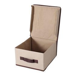 StorageManiac - StorageManiac Foldable Natural polyester Canvas Storage Box with Lid, Medium - Features: