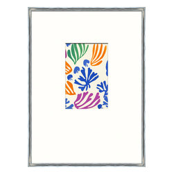 Soicher-Marin - Matisse Minis C - Giclee Print with a silver metallic wood frame with white mat insert.  Includes glass, eyes and wire. Made in the USA. Wipe down with damp cloth