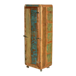 Retro Rustic Reclaimed Wood Rolling Armoire Cabinet - Lack of closet space used to be a problem, not any more. Our Retro Rolling Armoire is a stand-alone moveable closet that gives you the storage space you need when you need it. The rounded edges and industrial style hardware create a retro style. The rollers keep things moving and the 3-shelf cabinet keeps things organized.