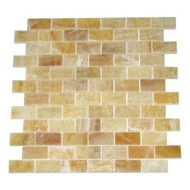 Honey Polished Bricks Pattern  Onyx Tiles, Single Sheet - 1 in. x 2 in. Honey Mesh-Mounted Bricks Pattern Onyx Mosaic Tile is a great way to enhance your decor with a traditional aesthetic touch. This polished mosaic tile is constructed from durable, impervious onyx material, comes in a smooth, unglazed finish and is suitable for installation on floors, walls and countertops in commercial and residential spaces such as bathrooms and kitchens.