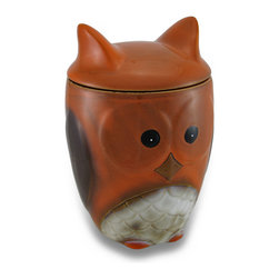 Zeckos - Harvest Owl Cookie Jar Ceramic Treat Jar w/Lid - Whoo' would love to sneak a treat from this cookie jar? Any owl lover, that's 'whoo' This fun textured ceramic 8.5 inch high, 5.5 inch diameter (22 X 14 cm) owl cookie jar is lovingly hand-glazed with a glossy finish and boasts a silicone lined owl ears shaped lid, and is recommended to hand-wash only. It's great for storing tea bags, coffee grounds or snacks on any counter or tabletop in the kitchen or dining room, or display it in the entryway to collect spare change or toss your keys into. It's great as a gift any owl lover or cookie jar collector is sure to enjoy