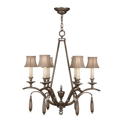 Fine Art Lamps - Villa Vista Chandelier, 806640ST - If you want a ceiling centerpiece that's truly a cut above, look no further. This stately silver-leafed chandelier features a driftwood effect on both the frame and the hand-sewn linen shades for an effect of gently weathered elegance.