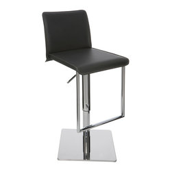 Nuevo Living - Cameron Adjustable Stool, Black - Give your home bar, kitchen or dining room a lift with this contemporary stool. Like you, it will go to great heights to entertain friends or family. A smooth hydraulic control lets you glide up or down almost 10 inches, so you won't have to worry if it's the right height for your work area or pub-style table.