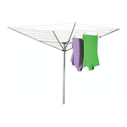 "Household Essentials - Umbrella Outdoor Air Dryer - Enjoy the freshness of drying your clothes in sunshine and breezes take in the day and save a little in your pocketbook with the help of the Umbrella Dryer.  The angled lines increase airflow improving circulation throughout your hanging garments.  Its 12 lines (165 of drying space!) let you air multiple loads at once giving all your clothes that sun-kissed scent.  This dryer with its lightweight aluminum design rotates in its base for easy access.  With its fold down structure and ground sleeve it is easily removed and stored during inclement weather protecting your dryer and keeping your lines clean.  So take a step back in time and hang your laundry like Grandma—reap the benefits in spirit and lower utility bills. Details:Inverted umbrella design enhances airflow.  Completely pre-strung and ready for installation.  Single action opens and closes dryer.  Folds completely for storage.  High impact plastic post cap and slide resists wear over lifetime.  Aluminum upper structure/post (1.5"" diameter)12 lines 165 drying space  Dimensions:72""h x 73""w x 73""d182.9cm x 185.4cm x 185.4cm  Tips:It is recommended that the ground sleeve be set in concrete for added stability. Make sure wet clothes are balanced and never leave dryer in use unattended for long periods of time.  Collapse empty dryer during stormy weather."