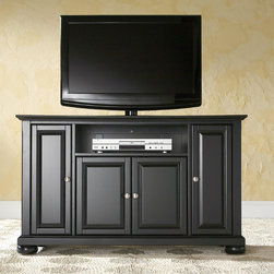 """Crosley - Alexandria 48"""" TV Stand - Enhance your living space with one of Crosley's impeccably-crafted TV stands. This signature cabinet accommodates most 52"""" flat panel TVs and is handsomely proportioned featuring character-rich details sure to impress. Raised panel doors strategically conceal stacks of CDs/DVDs, gaming components and various media paraphernalia. Open storage area generously houses media players and the like. Adjustable shelving offers an abundance of versatility to effortlessly organize by design, while cord management systems tame the unsightly mess of tangled wires. Customize our distinct cabinets by selecting one of four collection styles (featuring tapered, traditional. turned or bun feet) in your choice of one of three signature Crosley finishes. This customizable cabinet approach is designed for easy assembly, built to ship and constructed to last. The Alexandria collection has been skillfully crafted from rich hardwood and wood veneer. Built with an exquisite classy finish and sleek design, it is simply meant to personify the beauty in your living room. Features: -Alexandria collection. -Constructed of solid hardwood and veneer. -Raised panel doors. -Five adjustable shelves for storing electronic components, gaming consoles, DVDs and other items. -Wire management. -Adjustable levelers in legs. -Accommodates 50"""" TV. -ISTA 3A certified. -Manufacturer provides a 3 month warranty against defects in material and workmanship."""