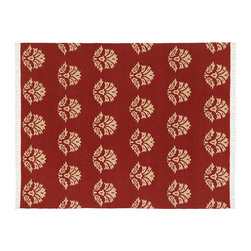 Enzo Medallion Dhurrie Rug, Red - Floral medallions adorn this vibrant handwoven rug, making it a nice way to add ancient design elements to any room. I think it would look especially nice in an area with light or neutral furnishings.