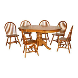 TMS - Farmhouse 7 Piece Dining Set - Features: -Single pedestal leg.-Set includes table and 6 chairs.-Constructed of sturdy rubberwood.-Farmhouse collection.-Collection: Farmhouse.-Distressed: No.Dimensions: -Table has 22'' leaf extension.-Table dimensions: 30'' H x 38'' - 60'' W x 38'' D.-Chair dimensions: 36.2'' H x 19'' W x 18'' D.