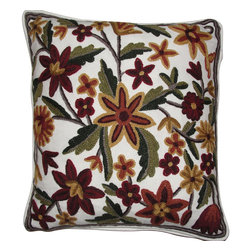 Crewel Fabric World - Crewel Pillow Cara Multi Cotton Duck Crewel Pillow 16x16 Inches - Features the exotic feel of a palampore with the handcrafted charm of early-American crewelwork.