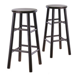 Winsome - Set of 2 29 in.  Bevel seat stools - Set of 2 solid wood 29 in. bar stools with beveled seat in Espresso finish . Rounded legs are sturdy; able to hold up to 200lbs. The beveled seat is contoured for comfort. The stools ship fully assembled