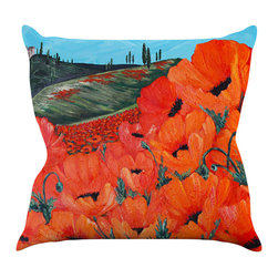 "Kess InHouse - Christen Treat ""Poppies"" Throw Pillow (20"" x 20"") - Rest among the art you love. Transform your hang out room into a hip gallery, that's also comfortable. With this pillow you can create an environment that reflects your unique style. It's amazing what a throw pillow can do to complete a room. (Kess InHouse is not responsible for pillow fighting that may occur as the result of creative stimulation)."