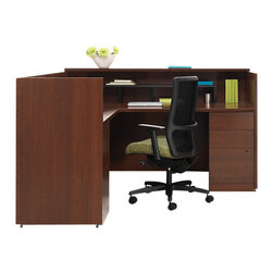 Hon - 10500 Reception Desk 1 - Here's a command center for your front line. Finished in a warm cherry laminate, it features accessory and file drawers, along with cubbies, grommets for wires and a customer ledge. Get one — or put two together for your busy office.