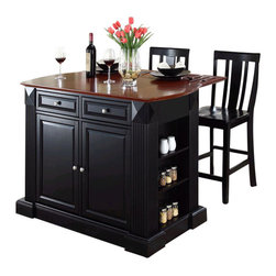 Crosley Furniture - Crosley Coventry Drop Leaf Breakfast Bar Kitchen Island with Stools in Black - Crosley Furniture - Kitchen Carts - KF300071BK