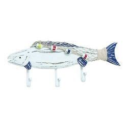 "BZBZ38739 - Artistic 8"" Wooden Fish Hook in Blue and White Highlights - Artistic 8"" wooden fish hook in blue and white highlights. Featuring an attractive modern design, this wooden Fish hook is a perfect choice of accessory for contemporary styled settings. It comes with a dimension of 8"" H x 20"" W x 2"" D."