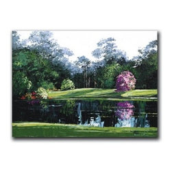 """Par 3 20x30 Print - """"Par 3"""" is a golf canvas giclee by Joseph LaPierre.  This 20x30 canvas is gallery wrapped . We take the fine art canvas and stretch it over a wooden frame, adhering the canvas to the backside of the frame. The canvas actually wraps around the edges of the frame, giving your print the look of a fine piece of art, such as you might find in an art gallery. There is no need for a picture frame. Your piece of art is ready to hang or lean against a wall, or display on an easel."""