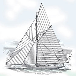 Buyenlarge - Six-Beam Cutter Sail Plan 12x18 Giclee on canvas - Series: Ships - Sailboats
