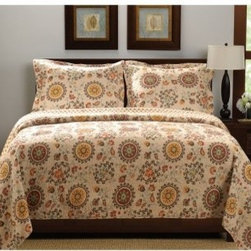 Greenland Home Fashions Andorra Quilt Set - The crisp autumnal colors of the Greenland Home Fashions Andorra Quilt Set bring its nature-inspired print to life, including floral crests and moon-shaped medallions in a lovely retro style. This set is made from 100% machine washable cotton and is available in your choice of size, with the quilt designed larger than ordinary for more comfortable mattress coverage.About Greenland Home FashionsFor the past 16 years, Greenland Home Fashions has been perfecting its own approach to textile fashions. Through constant developments and updates - in traditional, country, and more modern styles ñ the company has become a leading supplier and designer of decorative bedding to retailers nationwide. If you're looking for high-quality bedding that not only looks great but is crafted to last, consider Greenland.