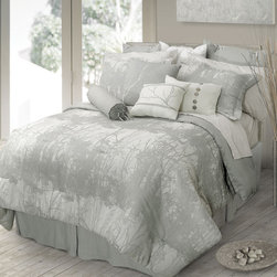 Landscape Contemporary Bedding Set by Lawrence Home - Bring nature inside with our Landscape eco friendly bedding.A warm white ground with cool gray tree silhouettes are woven into a bamboo cotton fabric coordinated with sheet sets that are printed on a bamboo cotton blended fabric. Decorative pillows have dressmaker details of natural elements such as quartz stones.