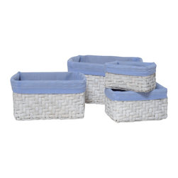"Set of 4 Straw Storage Totes White / Blue Liner - This set of 4 storage totes is made of natural straw with an easy-to-wash drawstring blue liner. Perfect for your bathroom, home or office, these baskets give you a functional and stylish storage option. Wipe with a damp cloth. Shallow basket measures 4.92"" L X 3.15""W X 3.15""H, Small basket 6.1"" L X 4.33""W X 3.94""H, Medium basket 7.48"" L X 5.91""W X 4.72""H, Large basket 8.27"" L X 7.09""W X 5.52""H. Color white with blue liner. This pretty set of straw storage tote baskets will bring a natural touch to your decor as well as being functional and will be a welcomed addition to any bathroom! Complete your decoration with other products of the same collection. Imported."