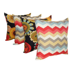 Land of Pillows - Crosby Black Out and Panama Wave Peachtini Chevron Outdoor Throw Pillow Set of 4 - Fabric Designer - Waverly