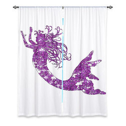 """DiaNoche Designs - Window Curtains Lined by Susie Kunzelman - Mermaid Purple - Purchasing window curtains just got easier and better! Create a designer look to any of your living spaces with our decorative and unique """"Lined Window Curtains."""" Perfect for the living room, dining room or bedroom, these artistic curtains are an easy and inexpensive way to add color and style when decorating your home.  This is a woven poly material that filters outside light and creates a privacy barrier.  Each package includes two easy-to-hang, 3 inch diameter pole-pocket curtain panels.  The width listed is the total measurement of the two panels.  Curtain rod sold separately. Easy care, machine wash cold, tumble dry low, iron low if needed.  Printed in the USA."""
