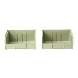 Martha Stewart Living - Martha Stewart Living™ Garage Storage Bins - Don't sweat the small stuff in your garage or workshop; get organized with our Martha Stewart Living™ Garage Storage Bins. These plastic storage bins offer versatile, accessible storage for your supplies and accessories. Hook the bins onto Martha Stewart Living™ Garage Louver Panels (sold separately) to keep them organized, then grab the ones you need when you need them. You can place these stackable storage bins on top of each other to save workspace; a low front lip allows access to each bin's contents. Stackable. Use with Cabinet or Wall Louver Panels, sold separately.