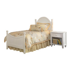Hillsdale Furniture - Hillsdale Westfield 2-Piece Panel Bedroom Set - Inspired by classic cottage styling, the Westfield youth bedroom collection features a traditional curved headboard, bead board details and lovely sculpted feet. Finished in a perfectly charming white, and complete with a dresser, mirror, nightstand, chest and matching desk, this collection is a refreshing and cheerful addition to your child's room.