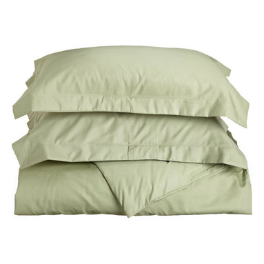 600 Thread Count Cotton Rich Twin Ivory Duvet Cover Set, Sage - Cotton Rich 600 Thread Count Twin Sage Duvet Cover Set