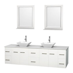 """Wyndham Collection - Centra 80"""" White Double Vanity, White Man-Made Stone Top, White Porcelain Sinks - Simplicity and elegance combine in the perfect lines of the Centra vanity by the Wyndham Collection. If cutting-edge contemporary design is your style then the Centra vanity is for you - modern, chic and built to last a lifetime. Available with green glass, pure white man-made stone, ivory marble or white carrera marble counters, with stunning vessel or undermount sink(s) and matching mirror(s). Featuring soft close door hinges, drawer glides, and meticulously finished with brushed chrome hardware. The attention to detail on this beautiful vanity is second to none."""