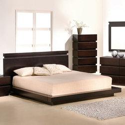 Contemporary, Modern Bedroom Collection - JNM- KNOTCH Modern Low Platform Brown Finish Bedroom Set