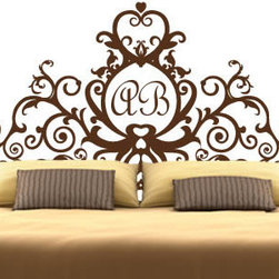 Headboard wall decals - Add your initials to personalize your bedroom with this gorgeous removable wall decal. Our monogram royal headboard sticker is a self-adhesive piece made of premium vinyl. The design comes in 24 different colors and 5 sizes. Starts at $98.