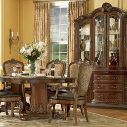 ART Furniture - Old World Double Pedestal Dining Room Set - ART-143221-ROOM - Set Includes Table and 4 Upholstered Side Chairs