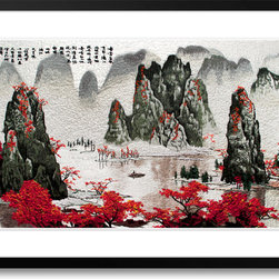 Art of Silk - Lijiang Scenery - Hand Designed Silk Art, Silk Embroidery - Silk embroidery art was invented in China over 2,500 years ago. This high quality silk art is created using embroidery techniques developed from the world famous Suzhou style of silk embroidery. Each piece contains over 100,000 stitches on average.