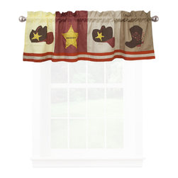 Pem America - Cowboy Valance - Cowboys features classic images of the Wild West with boots, a ten gallon hat, and the Sherriff�s star. Quilts are all cotton and the pattern is fully accessorized.  The quilt pattern is a mixture of earth tones that make it easy to coordinate and bedroom to this pattern.  For added impact bright reds and yellows dominate the applique icons over the whole face of the quilt. Valance measures 18 inches high by 70 inches wide with 3 inch rod pocket. 100% cotton face material. Machine wash cold/gentle, do not bleach, tumble dry low.