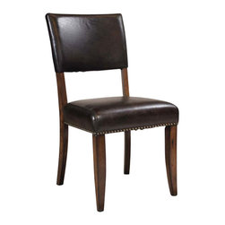 """Hillsdale Furniture - Hillsdale Cameron Parson Dining Chair (Set of 2) in Chestnut Brown - Hillsdale's Cameron collection beautifully combines a warm chestnut brown wood finish with a dark grey metal and offers a multitude of choices to create the perfect dining group for your home. Starting with the chairs, you have the choice of three lovely designs: The X-Back chair combines a warm chestnut brown top accent with a transitional metal X in the center of the back and a brown faux leather seat. The parson's chair is traditional in design and combines the warm chestnut brown finish with the brown faux leather seat. The ladder back chair features 3 rungs in the chestnut brown finish, enhanced by the dark grey metal and brown faux leather seat. Now that you have decided on your chair, let's look at the table options: The stunning rectangle table features a wood top that is generously scaled to easily accommodate 6. The simple round table features a 48"""" diameter wood top with flared metal legs. The round wood table is 48"""" in diameter and features a wonderful metal accent on the base."""