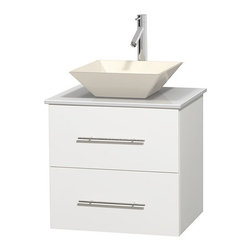 """Wyndham Collection - Centra 24"""" White Single Vanity, White Man-Made Stone Top, Bone Porcelain Sink - Simplicity and elegance combine in the perfect lines of the Centra vanity by the Wyndham Collection. If cutting-edge contemporary design is your style then the Centra vanity is for you - modern, chic and built to last a lifetime. Available with green glass, pure white man-made stone, ivory marble or white carrera marble counters, with stunning vessel or undermount sink(s) and matching mirror(s). Featuring soft close door hinges, drawer glides, and meticulously finished with brushed chrome hardware. The attention to detail on this beautiful vanity is second to none."""