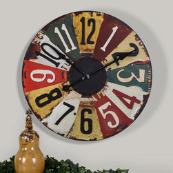 Vintage License Plates Clock - This colorful clock face consists of vintage pictures of old license plates with rustic bronze details. Quartz movement.